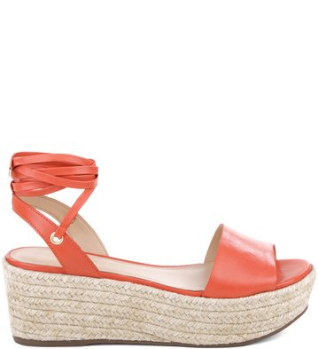 Flatform Lace-up Couro New-Apricot