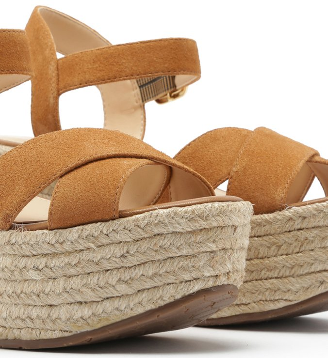 Sandália Suede Plataforma Fibras Cross Natural Wood