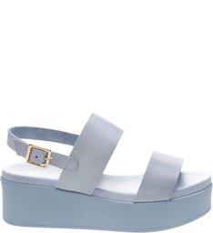 Sandália Couro Flatform Vintage Blue