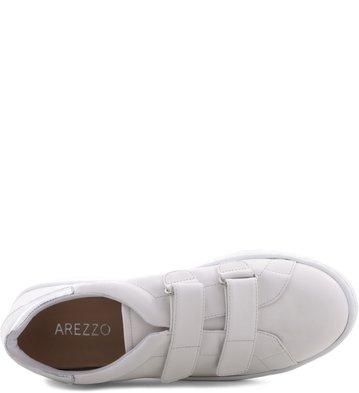 Tênis Velcro Branco Detalhe Prata