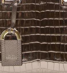Bolsa Tote Couro Croco Abraccio Pequena New Titanium