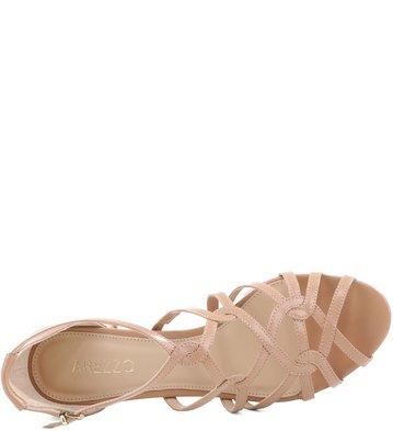 Sandália Salto Baixo Tiras Couro Nude Rose