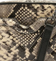 Bolsa Tiracolo Snake Francine Pequena Osso e Preto