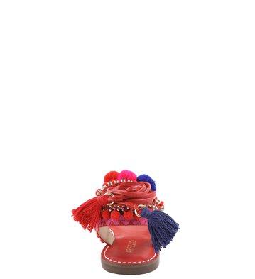 Rasteira Lace-up Pompom Flame