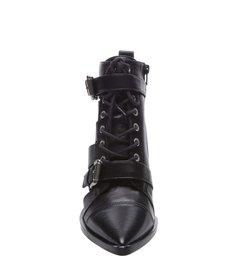 Ankle Boot Couro Cadarço e Fivela Preta
