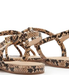 Sandália Rasteira Tiras Snake Real