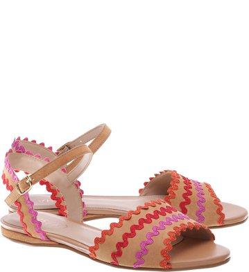 Sandália Rasteira Suede Zigzag Multicolorida