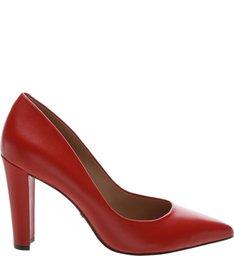 Scarpin Couro Salto Bloco Royal Red