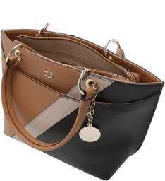 Bolsa Tote Juliana Média Natural Tan e Preto