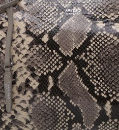 Bolsa Tote Couro Snake Nathalia Grande Osso e Granizo