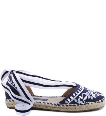 Espadrille Lace Up Floral Navy