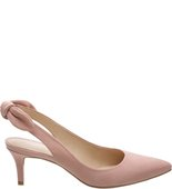 [PRE VENDA] - Scarpin Nobuck Salto Kitten Tiny Bow Rose Blush