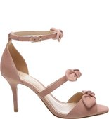 [PRE VENDA] - Sandália Nobuck Salto Médio Tiny Bow Rose Blush