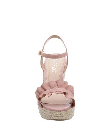 Sandália Plataforma Suede Drapeados Rose Blush