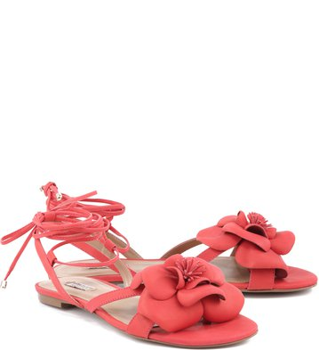 Rasteira Lace Up Flor Sangre