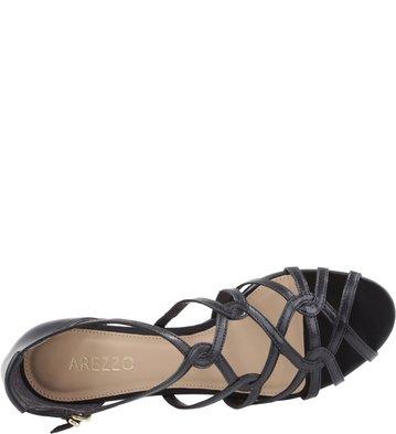 Sandália Salto Baixo Tiras Couro Preto