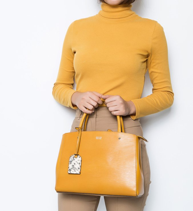 Bolsa Tote Couro Amber Yellow e Snake