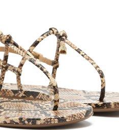 Sandália Rasteira Snake Tiras Nó Natural