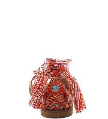 Rasteira Lace-up Bordado Boho New-Apricot