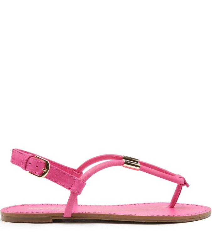 Sandália Rasteira Nobuck Tiras Pingente Pink Absolut
