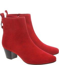 Ankle Boot Camurcina Salto Bloco Baixo Royal Red