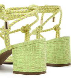 Sandália Amarração Cordão Salto Bloco Médio Verde Lime