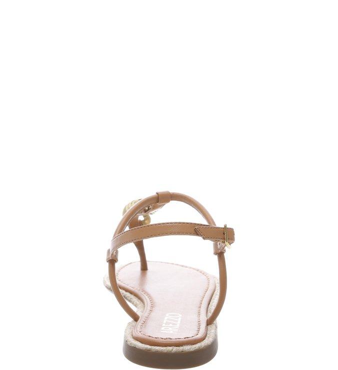 Sandália Salto Rasteiro  Corrente Dourada Melado