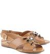 Rasteira Pedraria Fashion Camel