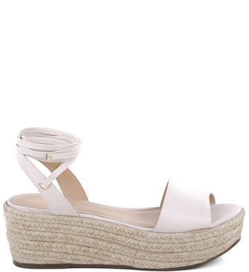 Flatform Lace-up Couro Off-White