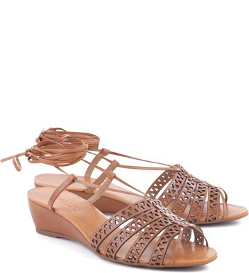 Anabela Lace Up Tan