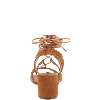 Sandália Lace-up Bloco Camel