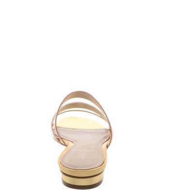 Chinelo Couro Minimal Dourado Off White Rose Mist