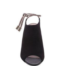 Sandal Boot Nobuck Salto Alto Bloco  Amarrações Preto e New Titanium
