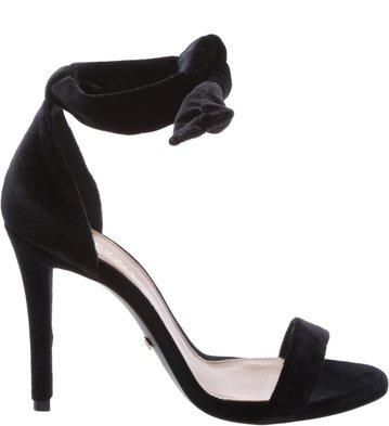Sandália Clássica Veludo Lace-up  Preto