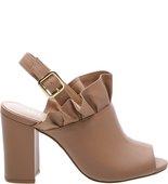 Sandal Boot Couro Block Drapeados Feminino Rose