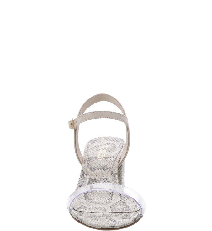 Sandália Snake Salto Médio Bloco Transparente e Porcelana