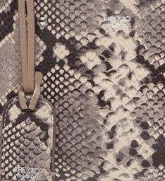 Bolsa Tote Couro Pequena Taupe Beige e Snake