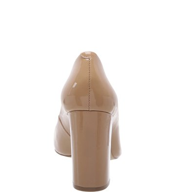 Sapato Clássico Salto Alto Verniz Nude Vintage