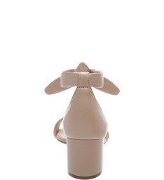 Sandália Salto Bloco Lace Up Malha Nude Crema