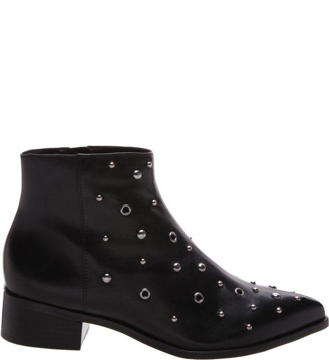 Ankle Boot  Couro Metais  Preta