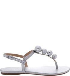 Sandália Rasteira Esferas Silver