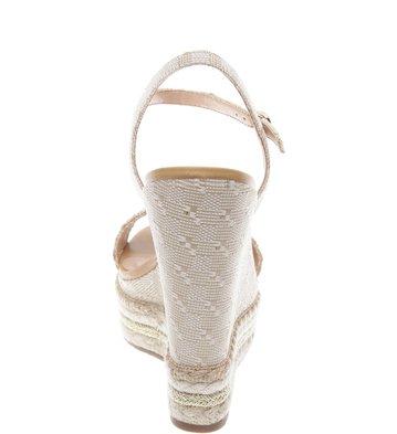 Sandália Plataforma Crochê Natural Ouro