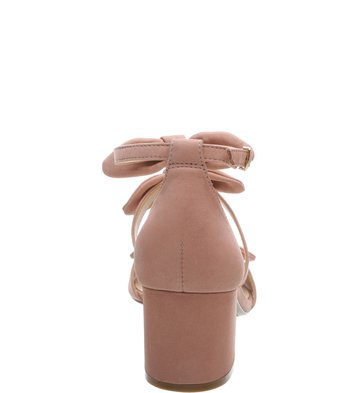 Sandália Nobuck Salto Bloco Tiny Bow Rose Blush