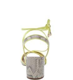 Sandália Snake Salto Médio Tiras Porcelana e Neon Limão