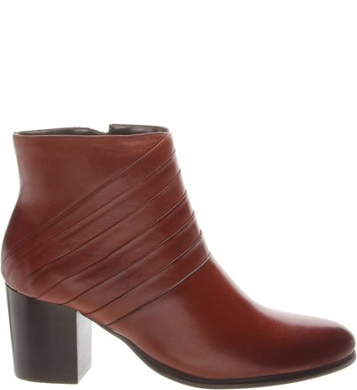 Ankle Boot  Dobra Linear Salto Bloco Havana