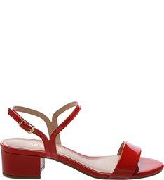 Sandália Verniz Salto Bloco Médio Royal Red