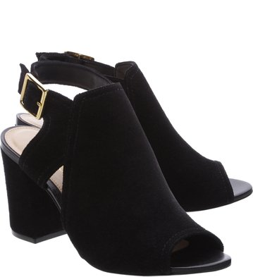 Sandal Boot Camurça Recorte Preta