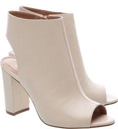 Sandal Boot Couro Minimal Bloco Alto Off White