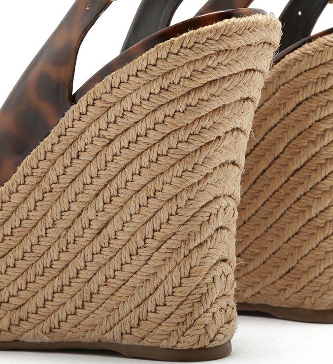 Sandália Plataforma Peep Toe Trança Tartaruga