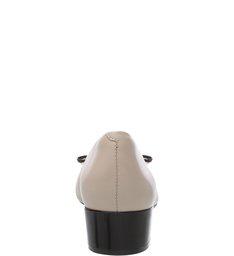 Scarpin Verniz Soft Cap Toe Tiny Bow Preto e Latte